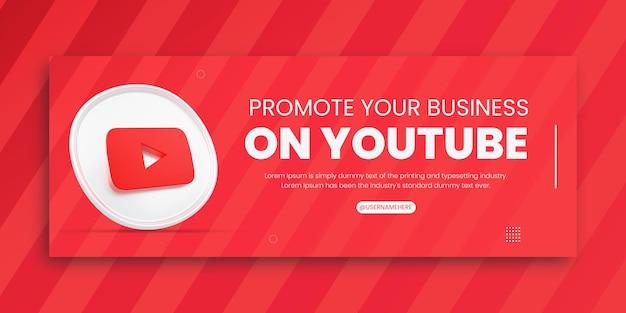3d render youtube promoción empresarial para redes sociales plantilla de diseño de portada de facebook