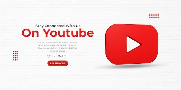 3d render youtube zakelijke promotie voor social media postsjabloon