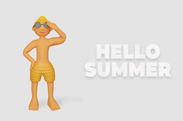 3d render zomer met pose zomer sjabloon