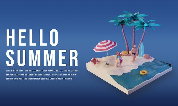 3d render zomerverkoop met mensenkarakter premium psd