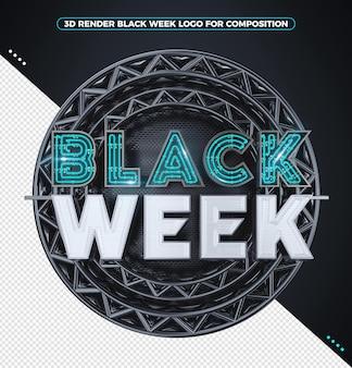 3d render zwart weeklogo met blauwe neon