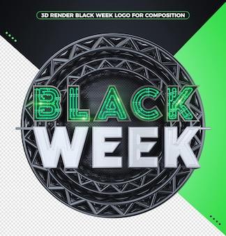 3d render zwart weeklogo met groene neon