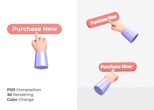 3d-rendering aankoop nu cta-knop met hand concept