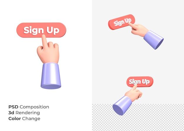 3d-rendering aanmelden cta-knop met hand concept
