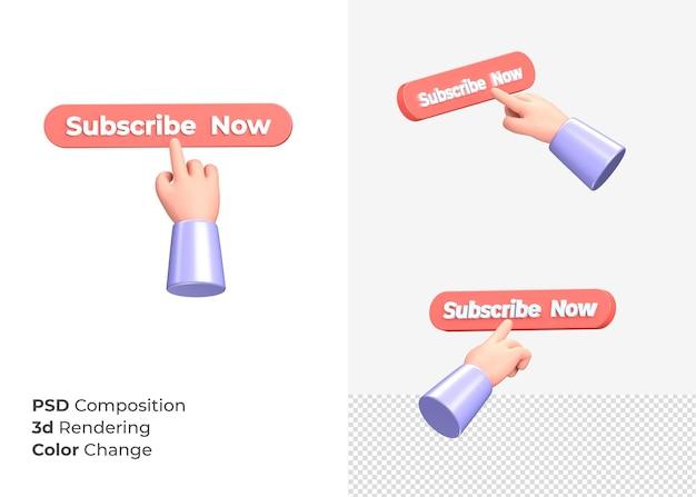 3d-rendering abonneren nu cta-knop met hand concept