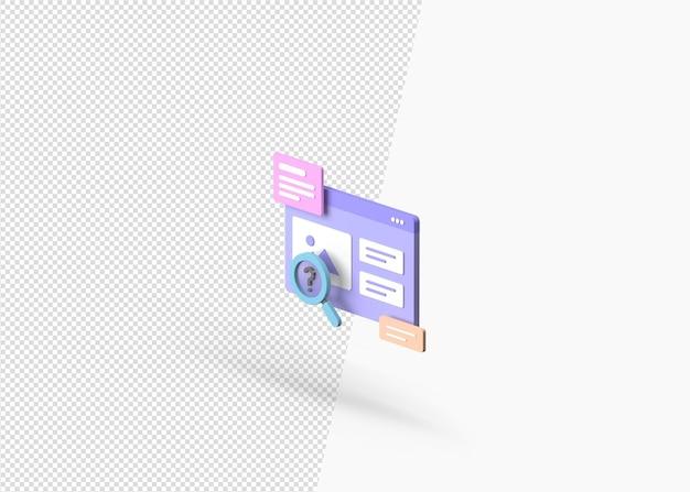 3d-rendering afbeelding zoeken geïsoleerd concept