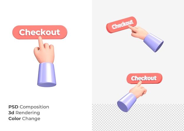 3d-rendering afrekenen cta-knop met hand concept