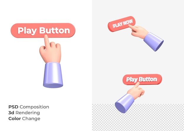 3d-rendering afspeelknop met hand concept