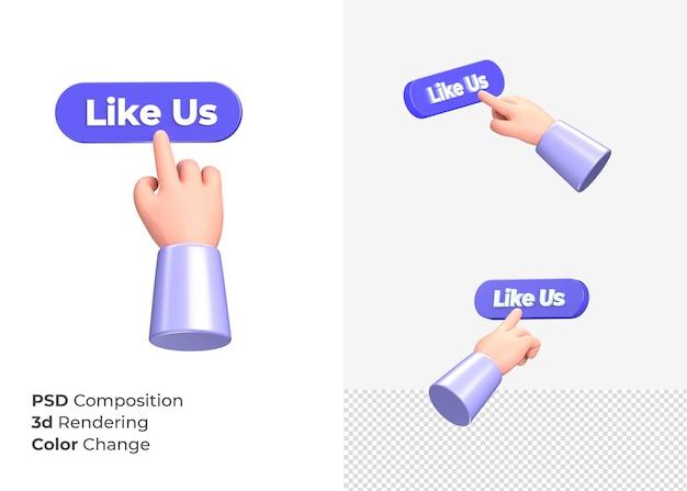 3d-rendering als ons knop met hand concept