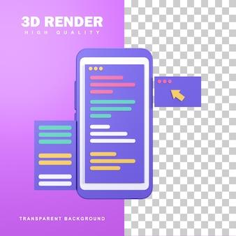 3d-rendering app-ontwikkelingsconcept met programmeertaal.