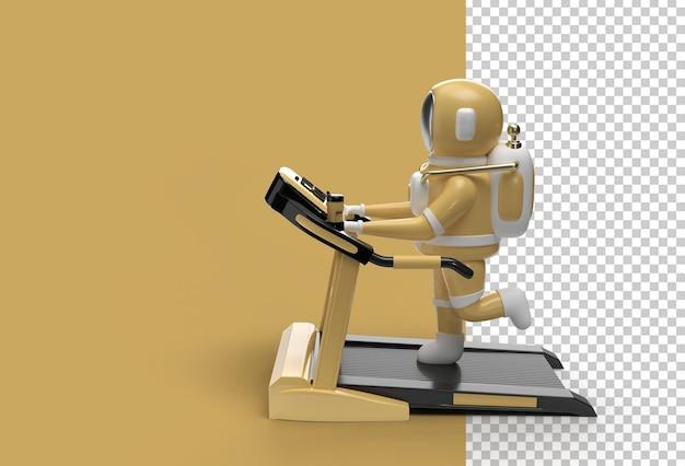 3d-rendering astronaut met loopbandmachine
