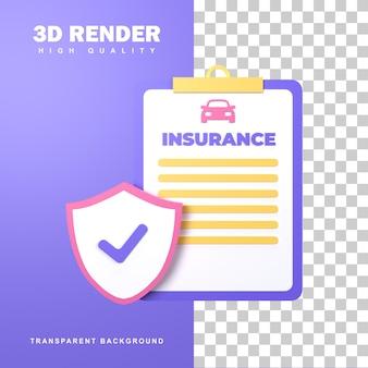 3d-rendering autoverzekering om schade aan het voertuig te garanderen.