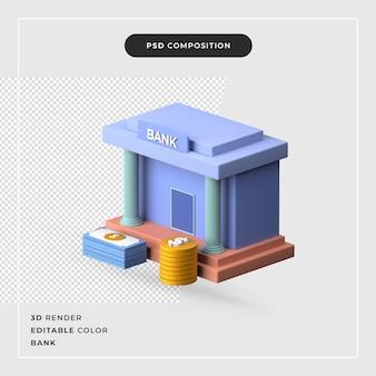 3d-rendering bank met geld concept