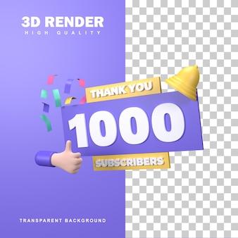 3d-rendering bedankt voor 1000 abonnees.
