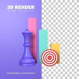 3d-rendering bedrijfsstrategieconcept met als doel het doel te bereiken.