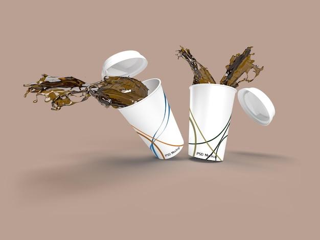 3d-rendering beeld van gemorste koffiemokken. mockuplabel in slimme objectlaag.