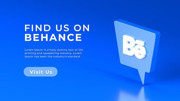 3d-rendering behance logo geïsoleerd web concept