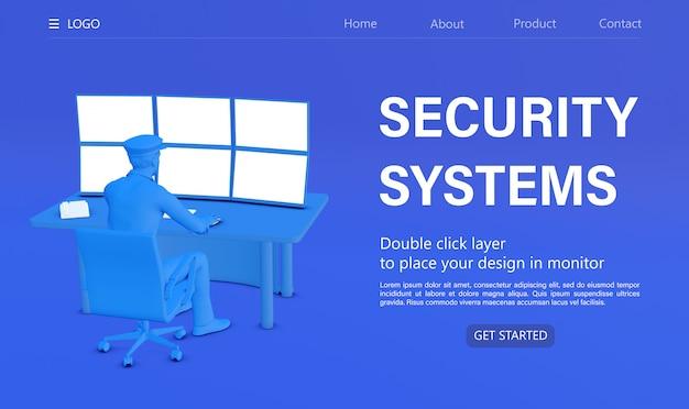 3d rendering beveiligingssysteem