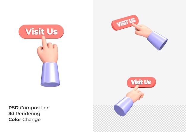 3d-rendering bezoek ons cta-knop met hand concept
