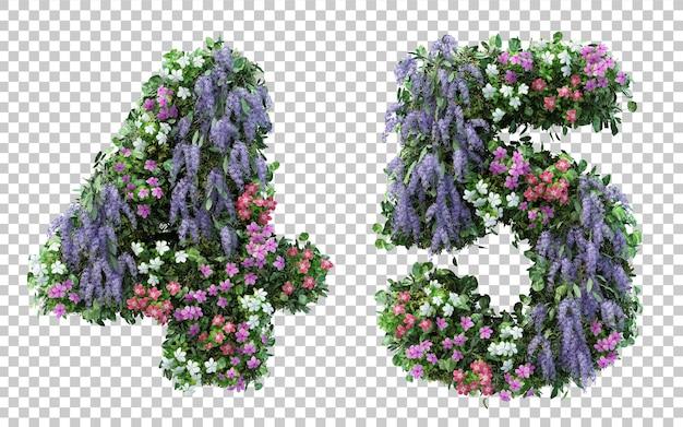 3d-rendering bloementuin nummer 4 en nummer 5 geïsoleerd