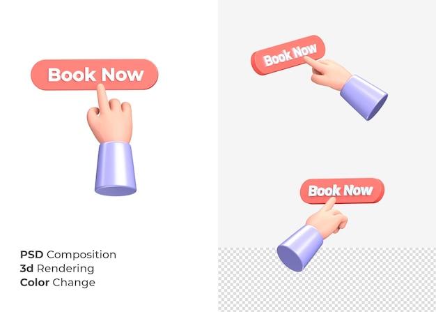 3d-rendering boek nu knop met hand concept