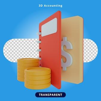 3d-rendering boekhouding illustratie