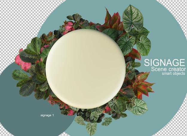 3d-rendering bord versierd met bladeren