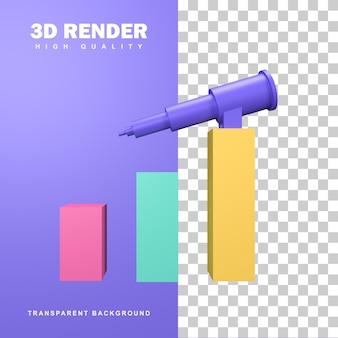 3d-rendering business vision concept met grote verrekijker.