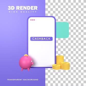 3d-rendering cashback-concept of online winkelpromotieprogramma.