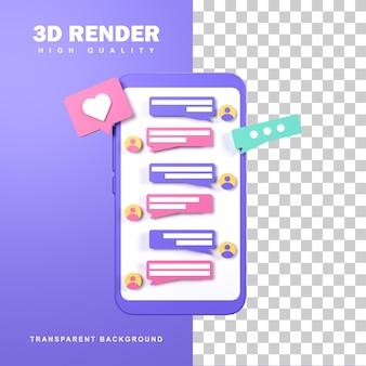3d rendering chatten concept om te communiceren met mensen die ver weg zijn.