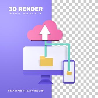 3d-rendering cloudopslag, zodat u gemakkelijk bestanden kunt delen.