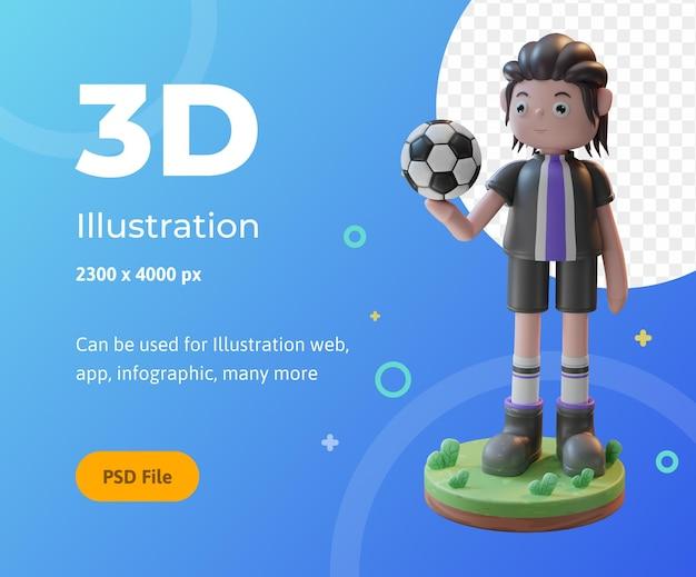 3d rendering concept illustratie van voetballers, gebruikt voor web, app, infographic, enz.
