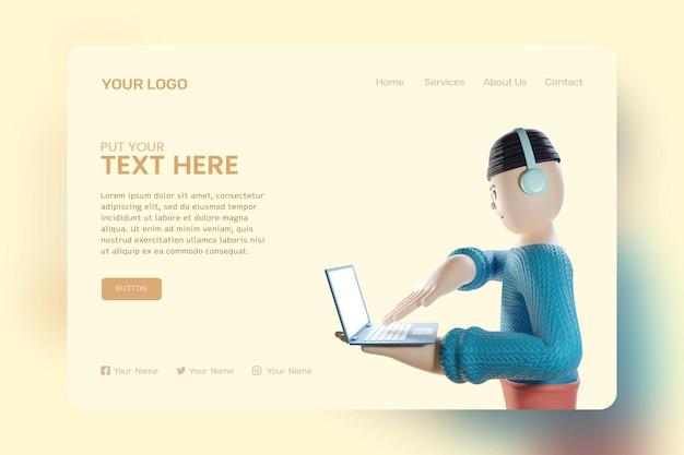3d-rendering concept van man met laptop ontwerp