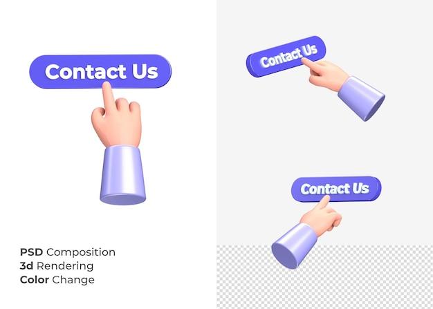 3d-rendering contact met ons op knop met hand concept