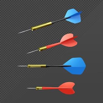 3d-rendering dartpijl vanuit perspectief en zijaanzicht