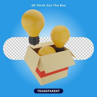 3d-rendering denk uit de doos illustratie