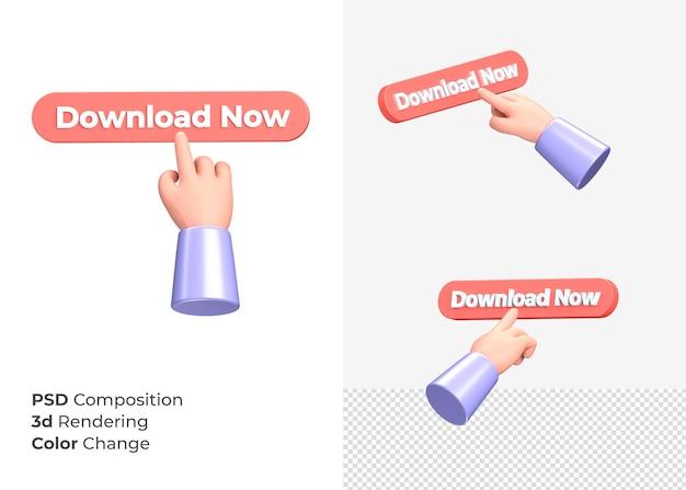 3d-rendering download nu knop met hand concept