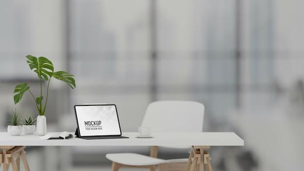 3d-rendering draagbare werkruimte met digitale tabletbenodigdheden en decoraties