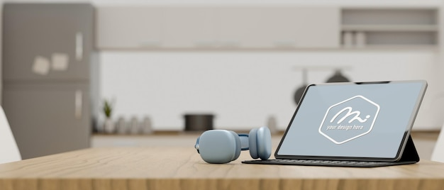 3d-rendering draagbare werkruimte met tablet