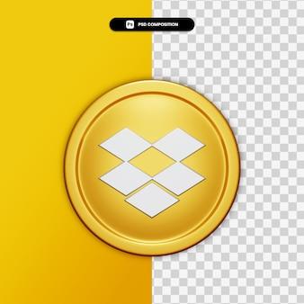 3d-rendering dropbox pictogram op gouden cirkel geïsoleerd