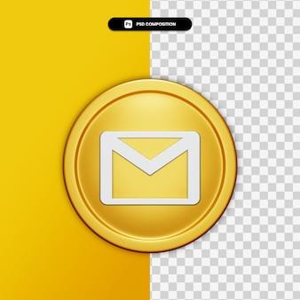 3d-rendering e-mailpictogram op gouden cirkel geïsoleerd