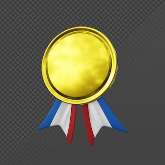 3d-rendering eenvoudige gouden kleine medaille pictogram perspectiefweergave