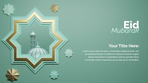 3d-rendering eid mubarak islamitische groet achtergrondontwerp met goud