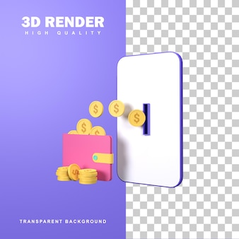 3d-rendering elektronische portefeuilles en online transacties.