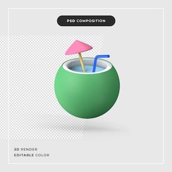 3d-rendering exotische kokoscocktail