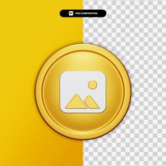 3d-rendering galerijpictogram op gouden cirkel geïsoleerd