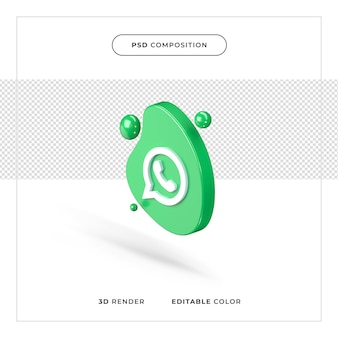 3d-rendering geïsoleerd whatsapp-logo