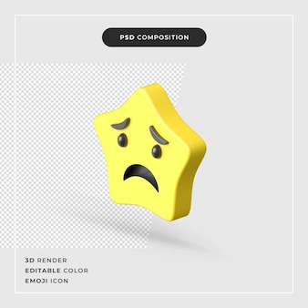 3d-rendering geïsoleerde ster emoji-pictogram