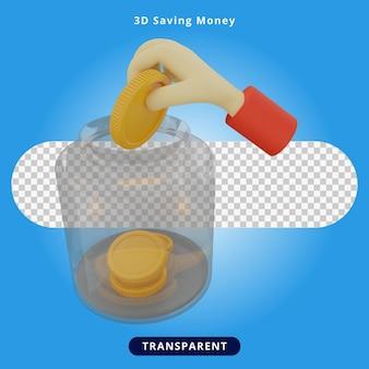 3d-rendering geld besparen illustratie