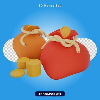 3d-rendering geldzak illustratie